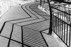 Hidden path (deborahb0cch1) Tags: blackandwhite monochrome abstract diagonal lines line curve geometric texture pattern architecture alley