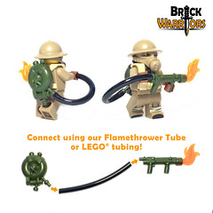 British Flamethrower Connection (BrickWarriors - Ryan) Tags: brickwarriors custom lego minifigure weapons helmets armor flamethrower flame tank tube connection gun world war ww2 soldier