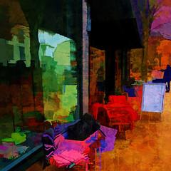 autumnal street cafe (j.p.yef) Tags: peterfey jpyef yef germany hamburg streetcafe seasons autumn digitalart street streetlife tables chairs cafezeitraum zeitraum