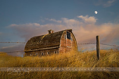 Barn on the hill - explored (betty wiley) Tags: barn abandoned grass moon palouse washington bettywileyphotography farm barbedwire fence