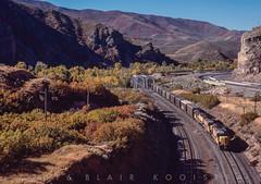 Eastbound near Taggart, U  October 5, 1985 (blair.kooistra) Tags: unionpacific gp30 parkcity webercanyon ogden echo utah utahrailroads branchlinerailroads