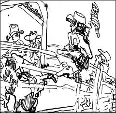 Cowboy With Flag (Kerry Niemann) Tags: arizona rodeo apachejunction penandinkdrawing