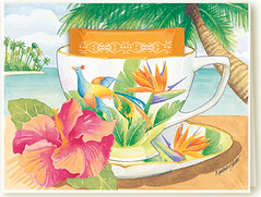 Bird of Paradise (Kimberly Shaw Graphics) Tags: tree watercolor graphics tea palm birdofparadise card tropical kimberly teacup shaw greeting teabag