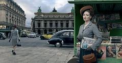 Marianne Monnestier (blaisearnold.net) Tags: portrait paris bus fashion paper 1954 kiosque hudson 50s opéra garnier information journaux frenchpeople