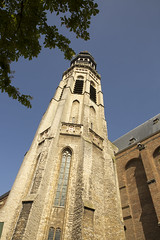 Abbey complex with its tower Lange Jan, Middelburg, Zeeland, Netherlands (CloudMineAmsterdam) Tags: old city summer vacation urban sun building tree brick green tower history tourism church netherlands abbey leaves stone architecture town spring ancient holidays europe european catholic religion gothic sunny bluesky zeeland medieval spire historical middelburg flanders middleage zuidholland zeeuws langejan flamish