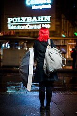 rainy night.. (Cem Bayir) Tags: street leica red people color rain night umbrella 50mm lights central rainy zrich summilux asph tramstation 5014 leicam asperical leicalove leicam240