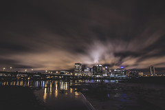 Evenings on the Floodwall (Joey Wharton) Tags: city night clouds buildings river outdoors evening virginia cityscape wide richmond va rva