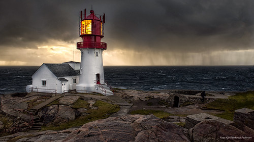 Lindesnes lighthouse in a storm