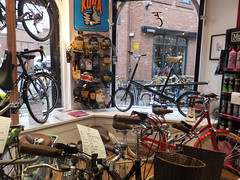 Pride of place (stevenbrandist) Tags: window bicycle shop forsale leicestershire leicester moulton futurecycles moultonautomatic moultonbicyclecompany