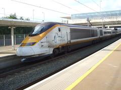 Class 373 set 3213/3214 depart from Ebbsfleet Intl Station en route from Brussels to London. (DesiroDan) Tags: highspeed1 eurostar eurostarclass373 class373eurostar tgvtmst uktrains ukelectricunits highspeedtrainsintheuk britishrailclass373