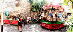 Tiovivo - Carrusel medieval (Unos y Ceros) Tags: tiovivo carrusel mercadomedieval lamorisma lansa ansa sobrarbe pirineos altoaragn huesca aragn paint textura luz unosyceros 2016 lightroom nikond700 zaragons zaragoneses europa unineuropea ue invarietateconcordi