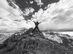 The Mountains Are Calling And I Must Go! (FengboLi) Tags: excitement blackandwhite clouds snow snowymountain summit fun wanderlust adventurous adventure mountain jump colorado ouray bluelakepass climb hiking outdoor