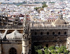 view from bell tower of the Seville Cathedral (~Jonbicykle ) Tags: spain hiszpania seville sewilla catedraldesantamara giralda tower view dzwonnica  andalusia