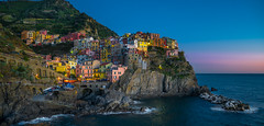 Manarola at blue hour (vegard.magnus) Tags: manarola cinqueterre bluehour sunset liguria ligurie riomaggiore vernazza shore sea mditerrane gm1
