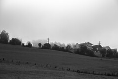 - Foggy Village - (Mr. LookUP) Tags: small village italy blackandwithe blackwhite bw covered by fog foggy unique canon 24105 sigma f4 field meransen sumer morning 2016 landscape