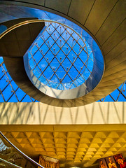 Looking up at the Louvre (Dick Shaffer) Tags: france louvre museum pyramid staircase spiral sky hdr aurorahdrpro travel