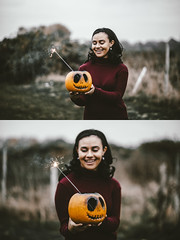 Hallow Eve (Delissa McWilliams Photography) Tags: halloween autumn fall delissamcwilliamsphotography pumpkin colourful journey smoke sparklers portrait 2016 trees leaves adventure horror scary joy london forest