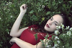 I used to be Snow White (Sus Blanco) Tags: snowwhite portrait littlewoman red green field flowers fineart beauty conceptual