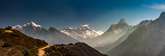 View of Everest from Tengboche, Ama Dablam (right), Lhotse and Mt. Everest (center) and Taboche (left) (CamelKW) Tags: 2016 everestpanoram nepal everest tengboche amadablam lhotse mteverest taboche