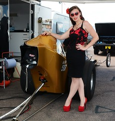 Holly_7374 (Fast an' Bulbous) Tags: long brunette hair seamed stockings red high heels stilettos shoes wiggle dress girl woman hot sexy hotty slingshot dragster car vehicle automobile nostalgia drag strip race track pits people outdoor wheel tyre santa pod dragstalgia england summer nikon d7100 gimp sunlasses legs beauty pinup model nylons