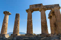 The ruins of the temple in ancient Corinth (Ivanov Andrey) Tags: temple archaeology ruins history architecture religion paganism ancientgreece column step stone stairs horizon sky cloud blue god stovetop sand walk journey midday summer heat sun mountain hill slope peak landscape travel ancientcorinth peloponnese greece