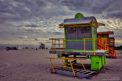 Life Guard Huts (opnwong) Tags: 2016 miami southbeach usa sky landscape sunset beach beachhuts cloudsstormssunsetssunrises clouds hdr highdynamicrange fujix100s ngc