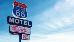 On Route 66 (Sworldguy) Tags: route66 neonsign motel clouds seligman arizona az bigsky neon signage classic tour tourist roadside vacancy nikon d7000 dslr vintage historic sign signboard streetsign outdoors text