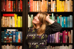 Day 269, Year 9. (evilibby) Tags: 365 3659 365days 365days9 libby bookshelf bookcase books rainbow bright colourful blonde smile