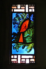 Notre-Dame church stained glass panel (Thompson Photography) Tags: paristrip1112to111816 notredameduraincy church raincy france nearparis 1922 augusteperret architect gustaveperret engineer margueritehure stainedglassartist 111316 concrete