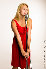 Kris10 (Robert Patten Photography) Tags: pink red cute beautiful car studio lights mono photo outfit model nikon colorful pretty dress singing who dr stage formal skirt doctor singer blonde strobe monolight