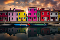 beautiful burano (JGP76) Tags: venice sunset italy reflection boat canal burano fluffyclouds colourfulbuildings