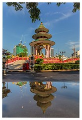 Reflections at the Park (Dax Ward Photography) Tags: park water cemetery reflections thailand asia bangkok chinese streetphotography chinesepagoda chinesetemple bangkokstreet thaiparks bangkokpark