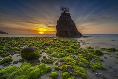 My Greenland III .. (zakies) Tags: longexposure sunset color beach rock horizontal creek colorful outdoor malaysia borneo lowtide mossy beutiful beufort rockstep sabahborneo nikond700 sabahsunset mohdzakishamsudin batuluangkualapenyu