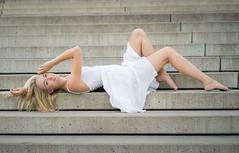 Sarah (ecker) Tags: portrait woman white girl sarah stairs zeiss linz dress arm outdoor sony naturallight portrt treppe 55mm portraiture frau a7 stufen stiege liegen kleid linien weis avaliablelight liegend urfahr umgebungslicht