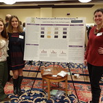Students pose with their research poster on natural dyes.