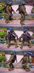 """Nickelodeon """"HISTORY OF TEENAGE MUTANT NINJA TURTLES"""" FEATURING LEONARDO -  TMNT 2k3 LEONARDO iv / ..with Original '03 Leonardo (( 2015 )) (tOkKa) Tags: nickelodeon tmnt toontmnt toonleo 1993 teenagemutantninjaturtles historyofteenagemutantninjaturtlesfeaturingleonardo toys figures leonardo 2015 displaystand playmatestoys toysrus toysrusexclusive varnerstudios moviestartmnt ninjaturtlesthenextmutation 4kidstmnt tmnt2003 tmntmovie4 paramountsteenagemutantninjaturtles 2007 1992 1988 2006 2005 2014 2012 tmntfastforward paramountteenagemutantninjaturtles tmnt2014movie eastmanandlairdsteenagemutantninjaturtles comic turtlemilkstudios davearshawsky imagesrctokkaterrible2zcom"""