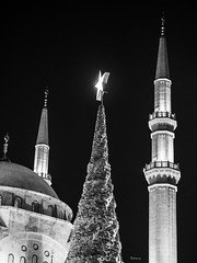 Mosque and christmas tree (Beirut) (Ramy.) Tags: christmas travel lebanon tree four lumix star noel mosque panasonic micro beirut sapin beyrouth liban thirds lbano gx7 mirorless dmcgx7