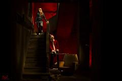 'It' Christmas (borjamuro) Tags: santa christmas light red españa night stairs painting death navidad noche blood rojo nikon ruins clown fear noel escalera muerte alicante ruinas terror papa claus payaso miedo sangre d7100