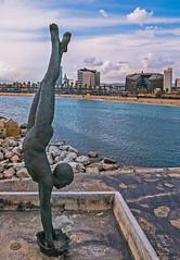 Statue - Sculpture ( entrance to the Marina - Port Olympic - Barcelona - Spain ( Panasonic Lumix DMC-LX100 Compact) (1 of 1) (markdbaynham) Tags: barcelona spain spainish espana espanol port olympic seafront view skyline catalan urban metropolis panasonic lumix lumixer dmc dmclx100 lx100 compact 2475mm f1728