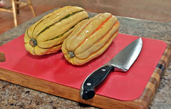 Delicious Delicata (Jo Zimny Photos) Tags: theflickrlounge wk39 repetition squash delicata delicious yellow stripes green orange knife sharp heinkel favourite board red wood counter kitchen food