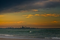 Gold Coast City Skyline In The Sunset (k009034) Tags: 500px waves australia coolangatta copy space gold coast pacific queensland tranquil scene beach buildings city clouds evening nature no people ocean sand sea sky skyline sunset travel destinations water teamcanon