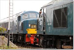 45041 'ROYAL TANK REGIMENT' prepares to couple onto D182 (46045), Peterborough (NVR), October 15th 2016 (Bristol RE) Tags: 45041 d53 53 d182 182 46045 peak class45 class46 45 46 peterborough nvr nenevalleyrailway
