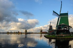 Zaanse Schans II (petdek) Tags: mills clouds zaan river water reflection heritage landscape sunset attraction platinumheartaward