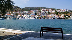 Pythagoreio harbour (Steenjep) Tags: samos holiday ferie greece grkenland pythagoreio harbour port boat fishing fishingboat tools nets pier water blue bench shadow