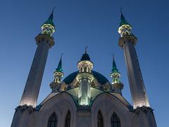 Illuminated towers of  the Qolrif Mosque (Oleg.A) Tags: autumn tower sunset kremlin street twilight mosque city kazan russia evening tatarstan oldtown town   respublikatatarstan ru