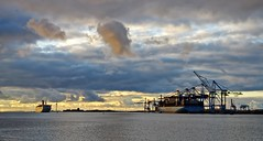 The container terminal (P F Hansen) Tags: ship cranes sweden sigma sea sky sunset harbor gothenburg gteborg light clouds seascape