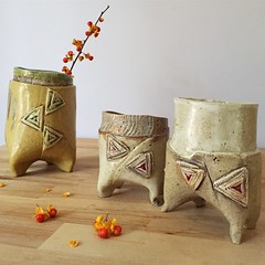 Pantaloon Cups. (Ceramic Design by Cherie) Tags: cdbc ceramicdesignbycherie cheriegiampietro pantalooncups decorativeceramics homedecor cups vases footed ceramicart gestural whimsical pottery ceramics handmade handbuilt