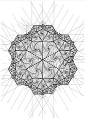 20161128a (regolo54) Tags: fractal hexagon handmade geometry symmetry mathart regolo54 tessellation isometric escher progression evolution star ink