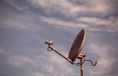rust ... (momirage) Tags: rust blue dirt dirty plate dish satellite receive receiver tv metal old sky cloud clouds