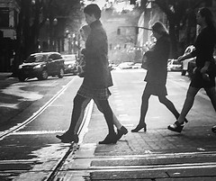 Crosswalk Silhouettes (TMimages PDX) Tags: iphoneography photography image photo photograph streetscene fineartphotography geotagged people urban city street streetphotography portland pacificnorthwest sidewalk pedestrians buildings avenue road blackandwhite monochrome vignette